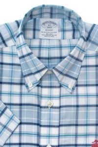 חולצה מכופתרת לגבר Brooks Brothers משובצת שרוול קצר