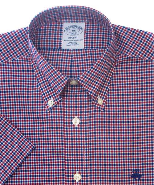 חולצה מכופתרת לגבר Brooks Brothers משובצת בגווני כחול בורדו