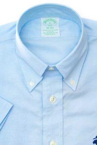 חולצה מכופתרת לגבר Brooks Brothers תכלת שרוול קצר
