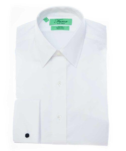 חולצת מכופתרת לגבר בצבע לבן צוארון קלאסי עם שרוול חפתים צרה במיוחד