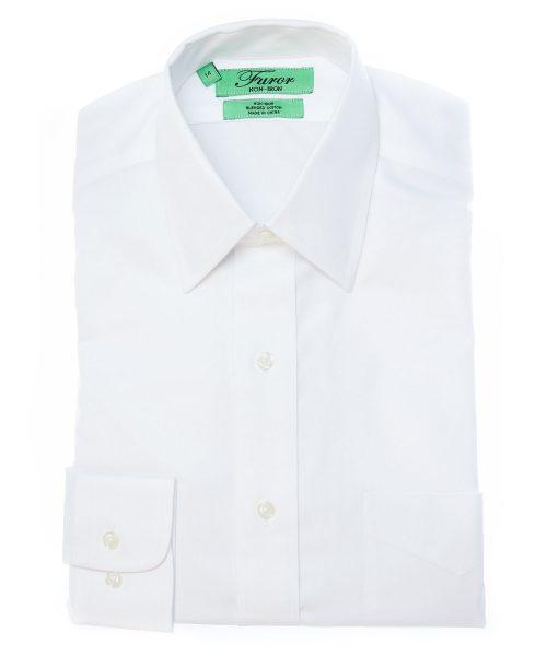 חולצה מכופתרת לגבר מותג פורור בצבע לבן צוארון קלאסי