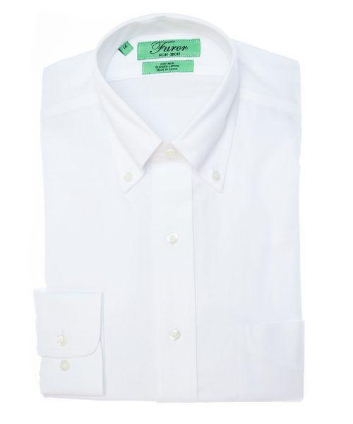 חולצה מכופתרת לגבר מותג פורור בצבע לבן צוארון כפתורים