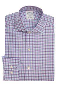 חולצת אוקספורד מכופתרת לגברמשובצת בסגול ותכלת ללא גיהוץ brooks brothers ברוקס ברדרס