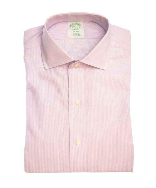 חולצה אלגנטית מכופתרת לגבר בצבע ורוד עדין ללא גיהוץ brooks brothers ברוקס ברדרס