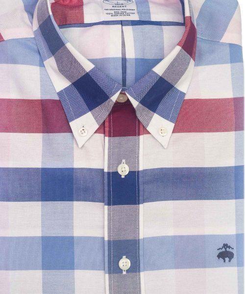 חולצה אלגנטית מכופתרת לגבר משובצת בכחול אדום ותכלת ללא גיהוץ brooks brothers ברוקס ברדרס