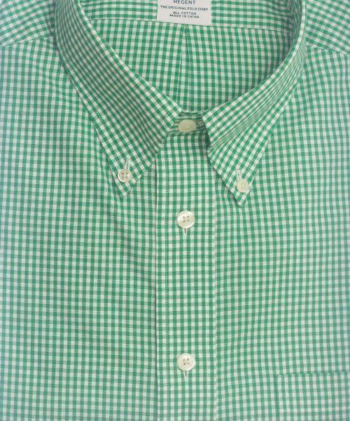 חולצה אלגנטית מכופתרת לגבר משובצת בירוק ולבן ללא גיהוץ brooks brothers ברוקס ברדרס