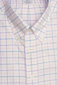 חולצה אלגנטית מכופתרת לגבר משובצת בכחול תכלת סגול כתום ללא גיהוץ brooks brothers ברוקס ברדרס