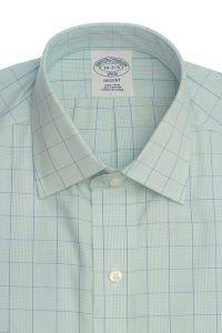 חולצה אלגנטית מכופתרת לגבר משובצת בכחול וירוק עדין ללא גיהוץ brooks brothers ברוקס ברדרס