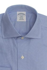 חולצה אלגנטית מכופתרת לגבר משובצת כחול עדין ללא גיהוץ brooks brothers ברוקס ברדרס