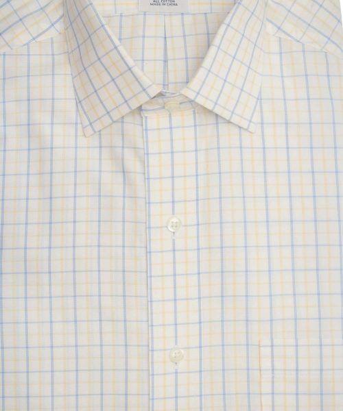 חולצה אלגנטית מכופתרת לגבר משובצת כחול וצהוב עדין ללא גיהוץ brooks brothers ברוקס ברדרס