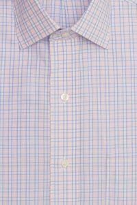 חולצה אלגנטית מכופתרת לגבר משובצת כחול וורוד עדין ללא גיהוץ brooks brothers ברוקס ברדרס