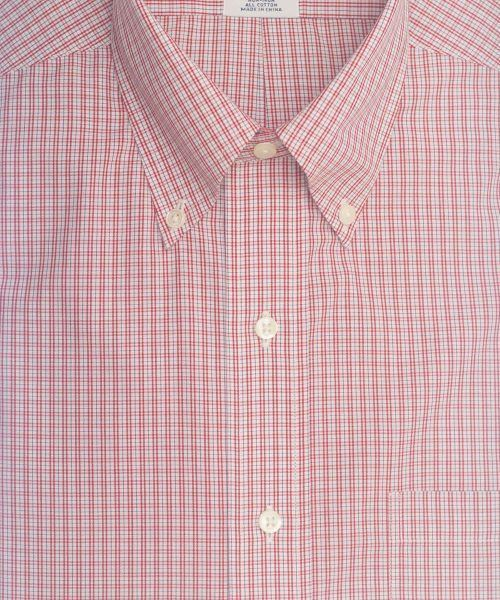 חולצה אלגנטית מכופתרת לגבר משובצת באדום ולבן ללא גיהוץ brooks brothers ברוקס ברדרס
