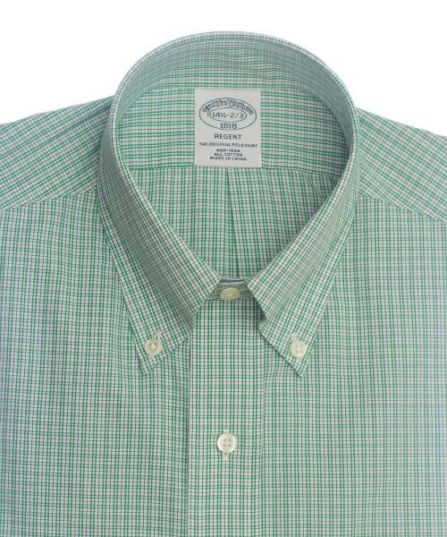 חולצה אלגנטית מכופתרת לגבר משובצת ירוק ולבן ללא גיהוץ brooks brothers ברוקס ברדרס