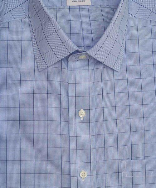 חולצה אלגנטית מכופתרת לגבר משובצת בגווני כחול ללא גיהוץ brooks brothers ברוקס ברדרס