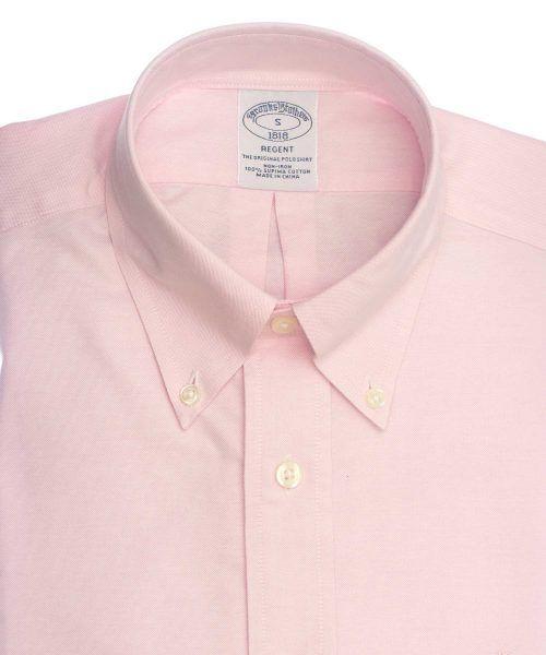 חולצה אלגנטית מכופתרת לגבר בצבע ורוד ללא גיהוץ brooks brothers ברוקס ברדרס