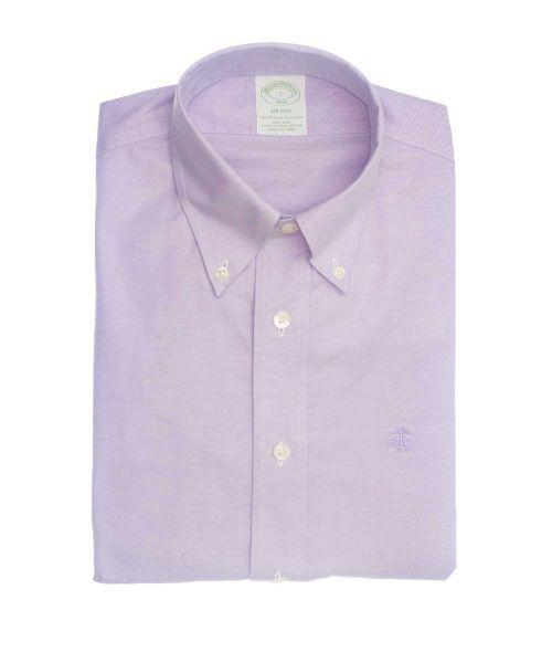 חולצה אלגנטית מכופתרת לגבר בצבע סגול ללא גיהוץ brooks brothers ברוקס ברדרס