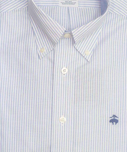 חולצת אוקספורד לגבר פסים תכלת ולבן