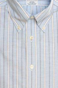 חולצת אוקספורד מפוספסת לגבר בצבע תכלת ללא גיהוץ brooks brothers ברוקס ברדרס