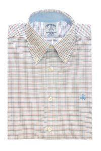 חולצת אוקספורד בצבע לבן משובצת עדין לגבר ללא גיהוץ brooks brothers ברוקס ברדרס