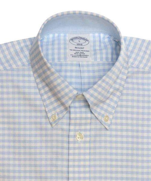 חולצת אוקספורד משובצת לגבר בצבע תכלת ולבן ללא גיהוץ brooks brothers ברוקס ברדרס