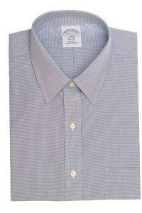 חולצת משובצת לגבר בצבע כחול ולבן ללא גיהוץ brooks brothers ברוקס ברדרס