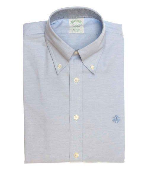 חולצת אוקספורד מכופתרת לגבר בצבע תכלת ללא גיהוץ brooks brothers ברוקס ברדרס