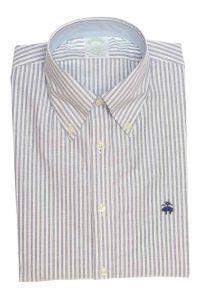 חולצת אוקספורד מפוספסת לגבר בצבע לבן ללא גיהוץ brooks brothers ברוקס ברדרס