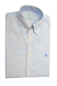 חולצת אוקספורד מפוספסת לגבר בצבע לבן ותכלת ללא גיהוץ brooks brothers ברוקס ברדרס
