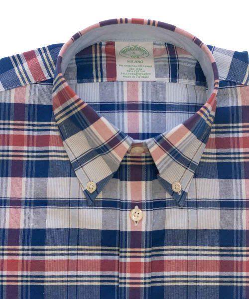 חולצת אוקספורד משובצת לגבר ללא גיהוץ brooks brothers ברוקס ברדרס