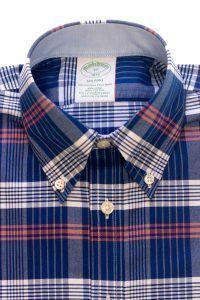 חולצת אוקספורד בצבע כחול משובצת לגבר ללא גיהוץ brooks brothers ברוקס ברדרס