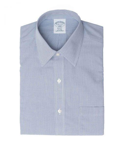 חולצת בצבע כחול עם שיבוץ עדין Brooks Brothers