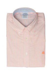 חולצה מכופתרת לגבר פסים בצבע כתום לבן Brooks Brothers