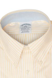 חולצה מכופתרת לגבר בצבע צהוב לבן Brooks Brothers