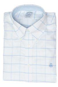 חולצה מכופתרת לגבר בצבע לבן עם משבצות כחולות Brooks Brothers