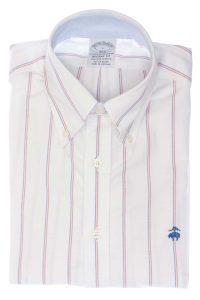 חולצה מכופתרת לגבר פסים בצבעים לבן כחול ואדום Brooks Brothers