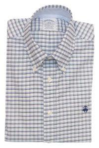 חולצה מכופתרת לגבר בשיבוץ כחול תכלת ולבן Brooks Brothers