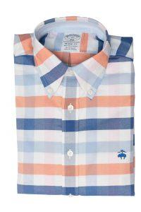 חולצה מכופתרת לגבר בשיבוץ כחול תכלת כתום Brooks Brothers