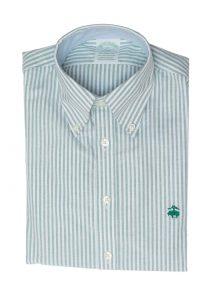 חולצה מכופתרת לגבר פסים בצבע ירוק לבן Brooks Brothers