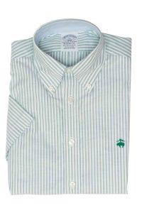 חולצה מכופתרת לגבר פסים בצבע ירוק בהיר ולבן Brooks Brothers