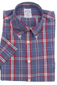 חולצה מכופתרת לגבר שרוול קצר משובצת בצבעים כחול אדום לבן Brooks Brothers
