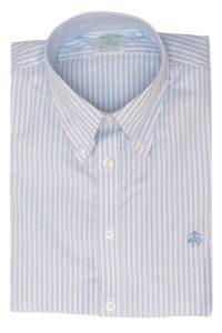 חולצה מכופתרת לגבר פסים תכלת לבן Brooks Brothers