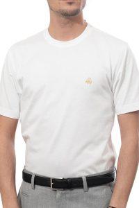 חולצת טי בצבע לבן עם סמל Brooks Brothers
